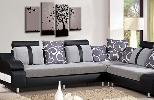 Abstract Floral Black Grey Butterfly Tree Landscape Wall Art